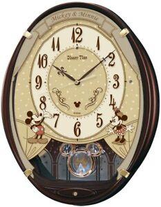 Seiko wall clock mickey-mouse electric wave analog, brown FW579B Japan