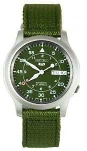 Seiko 5 Automatic SNK805 Green Dial Green Canvas Band Men's Watch