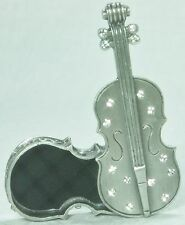 Stunning Trinket Box Pewter w Diamantes Violin Design BOX1710 NEW ***LAST ONE***
