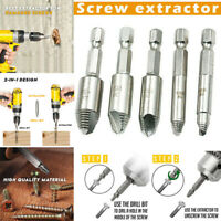 5 Pcs Screw Extractor Drill Bits Broken Damaged Screw Bolt Remover Tool Set