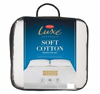 Tontine Luxe Cotton Quilted Mattress & Pillow Protector Set-QUEEN Bed RRP $159.9