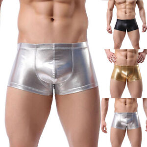 Sexy Mens Underwear Boxer Shorts Faux Leather Briefs Underpants Pants Trunks New
