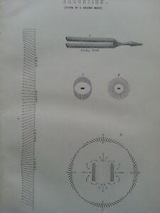 ANTIQUE PRINT DATED C1870'S ACOUSTICS ENGRAVING FORM OF SOUND WAVE MUSIC ART