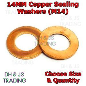 14MM Copper Sealing Washers Metric - M14 Flat Seal Washer Sump Plug Drain Gasket