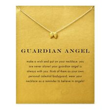 18K Gold Plated Dainty Guardian Angel Wings Inspirational Message Charm Necklace
