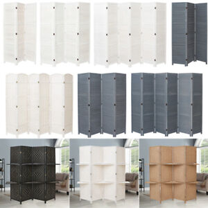 3/4/6 Panel Solid Wood/Wicker Room Divider Hand Made Privacy Screen/Separator UK