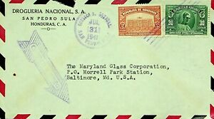 HONDURAS 1941 WWII 2v ON AIRMAIL COVER FROM SAN PEDRO TO BALTIMORE MD. USA