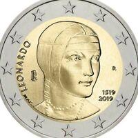 💥 Italy 2019 Leonardo Da vinci 2€ UNC coin taken from mint roll. Very Rare.💥