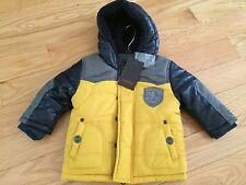 NWT Catimini French Urban Boys Yellow Blue Doudoune Hooded Jacket Coat 6M $198