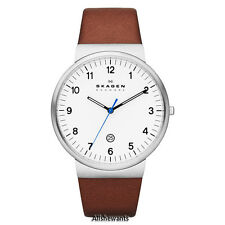 NEW SKAGEN WATCH for Men * Ancher Brown Leather * Date * SKW6082 * MSRP $145
