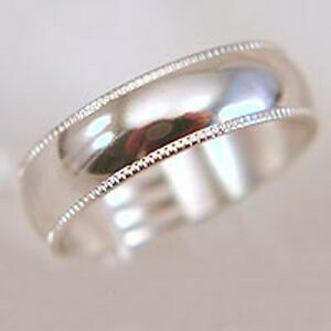 18K White Gold Plated Mens Wedding Band 7mm Ribbed Ring Size 9 10 11 12 13 New