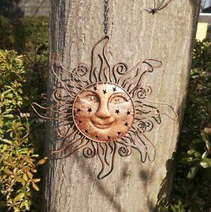 Sonne Metall Kupfer 29 cm Deko Garten Sterne Figur Mond Schild Sommer Bild Wand
