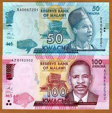 Set, Malawi, 50;100 Kwacha, 2016, P-New, UNC