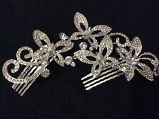 Wedding Bridal Rhinestone Butterfly Hair Comb in Silver Clear Crystals HA013-06