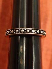 Ring 4.5 Jewelry Statement Costume Fashion Silver Tone Black Ish Spot Dot Band