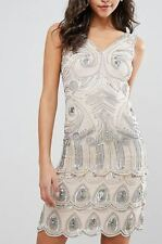 Frock and Frill Sequin Embellished Mini Dress (T9) RRP £135.00 UK10- Nude/Silver