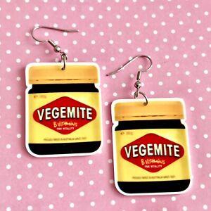 Vegemite Dangle Fun Earrings/ Quirky/ Novelty / Retro / Australia 🇦🇺gift Idea