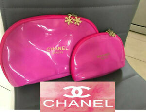 Set of 2 x Chanel MAKE UP Cosmetics Bags Golden Snowflakes Ladies Girls VIP GIFT