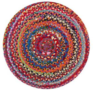 SUNDAR Braided Round Rug Hand Made Flat Weave with Multi Colour Recycled Fabric