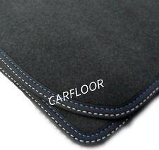 Fußmatten Velours Deluxe schwarz Nubukband Doppelnaht blau-weiß für VW Polo 9N