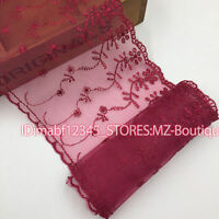 F128D Floral Tulle Lace Trim Ribbon Flower Embroidery Wedding Trim Sewing crafts