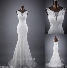 Mermaid White/Ivory Bridal Gown Wedding Dress Custom Size 4 6 8 10 12 14 16 18++