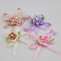 10pcs satin ribbon flowers bow w/Crystal stone wedding sewing appliques DIY E122
