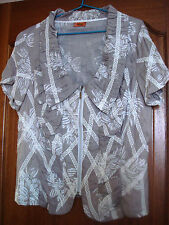 SEQUEL 100% COTTON FLORAL SHORT SLEEVES ZIPPED BLOUSE - Size 18 - RRP 229.95