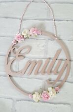 Personalised floral roses name wooden hanging hoop, nursery decor girls gift