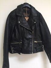 •Brampton  London Black Leather Biker Jacket Size M New With Tags