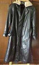 Men's leather coat  SAN ZHEN  size XXXL, black, lined with artificial fur, long