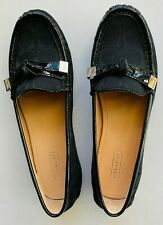 COACH NWOB Frida Signature Women's Sz 6 1/2 Black Logo Loafers Flats Slip On Bow