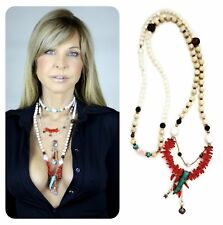 "Sterling silver Long Wrap ""Kinley"" necklace with  fire coral sandstone turquoise"