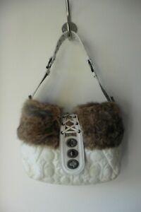 COACH WHITE & BEIGE NYLON QUILTED SHOULDER BAG FUR TRIM WITH FRONT CLASP  B2