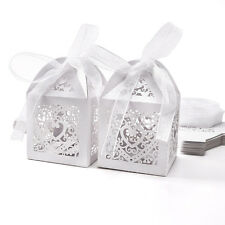 25pcs White Laser Cut Favor Box With Ribbon Wedding Party Gift Candy Box
