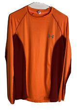 Under Armor HeatGear Men's Loose Fit Breathable Workout Shirt M Orange Long Slv
