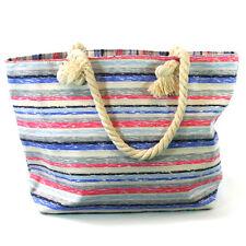 Multi Stripes Beach Bag Zip Fastener Rope Handles Holiday Travel Seaside 104-651