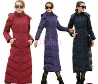 Womens Lady Down Super - Long Knee Length Winter Parkas Puffer Hooded Chic Coats