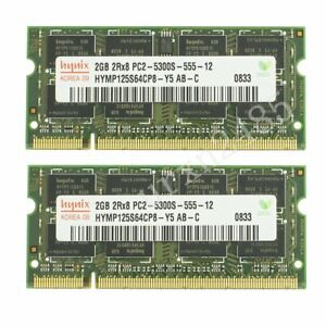 4GB 2x 2GB / 512MB DDR2-667MHz PC2-5300S SO-DIMM RAM Laptop Memory For Hynix CA