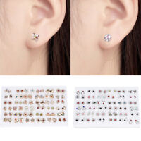 Lots Fashion Women Jewelry Tiny Crystal Rhinestone Flower Stud Earrings Set