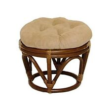 International Caravan 3301-MS-JV Rattan Ottoman With Micro Suede Cushion Java