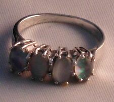 Weißgold Memory Ring Opal Edelopal Kristalopal 585 Gold