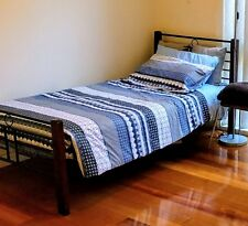 USED VGC WROUGHT IRON TIMBER WOOD SINGLE BED FRAME, MATTRESS and BEDDING