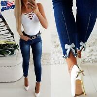 USA Womens Ladies High Waist Stretchy Skinny Jeans Denim Pencil Pants Trousers