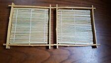 "Set of 2 Bamboo 6"" Sushi Roller Mats with Racks Frames"
