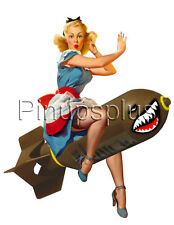 Sexy Pinup Bomber Girl Nose Art Waterslide Decal Sticker For Guitars & more S683