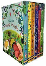 Usborne Peep Inside Collection 6 Books Box Set Children Gift Pack Dinosaur, Farm