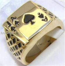 18K GOLD EP LUCKY ACE SPADES JACK MENS CARD RING SIZE 8-14 u choose