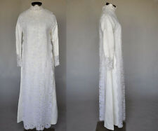 Vintage Vtg 50s 1950s Ivory Lace Long Maxi Wedding Gown Dress Roman Boho Satin S