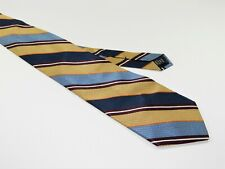 Men's BROOKS BROTHERS MAKERS NECKTIE Tie MADE IN USA BLUE GOLD STRIPES